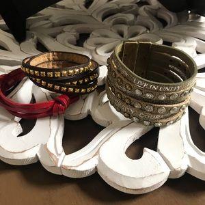 Good Works Leather Wrap Bracelet Lot of 3